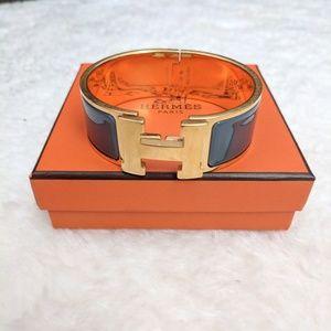 Hermes Clic H bracelet gold tone blue/gray PM